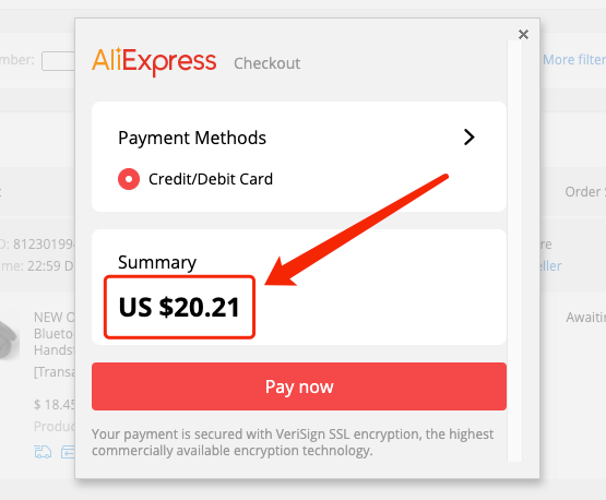 Description: Change currency to pay on AliExpress - Pay in USD - DSers