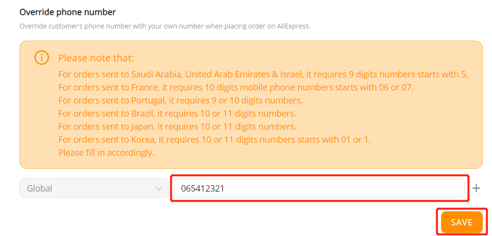 8 - Orders to France specifications with Wix DSers - enter phone number - Wix DSers