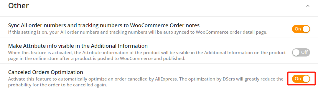 AliExpress Canceled Orders Optimization with Woo DSers - Activate Canceled Orders Optimization - Woo DSers