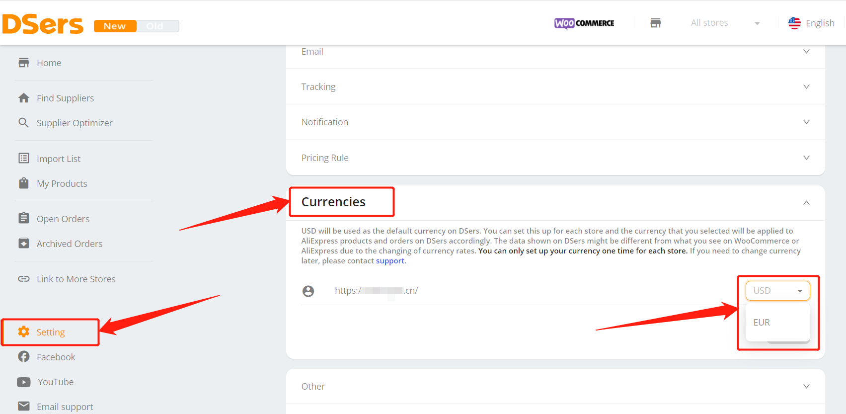 Change and set currency on Woo DSers - Report setting - Woo DSers