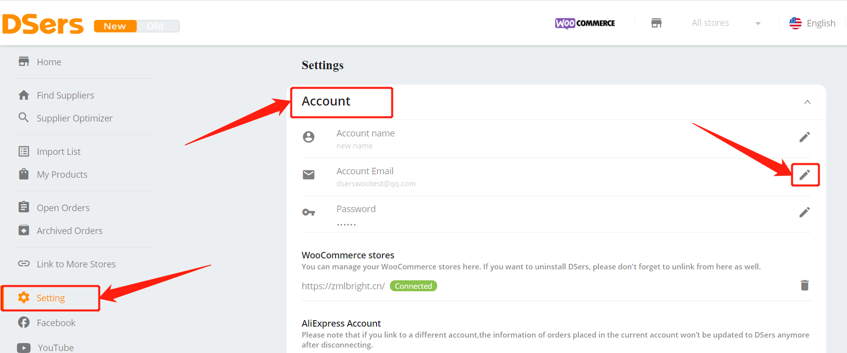 Change login email - Account Email - DSers
