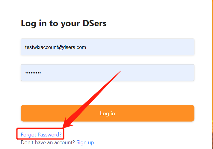 Change password with Woo DSers - Click Forgot Password - Woo DSers