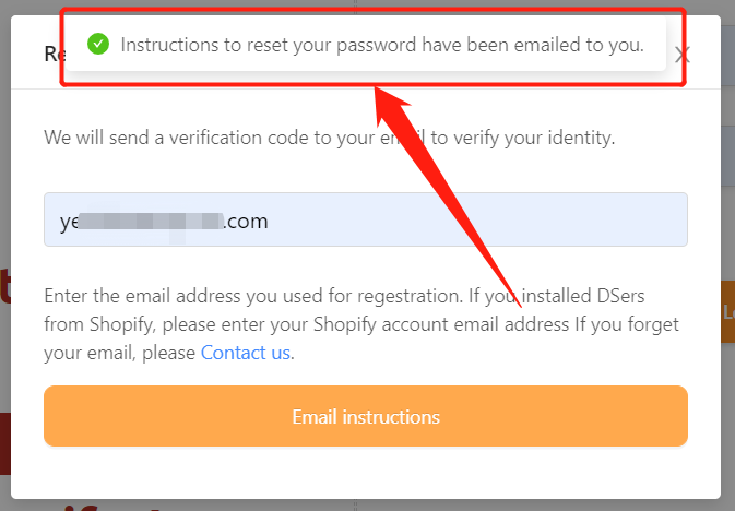 Change password with Woo DSers - Notification of email sent - Woo DSers
