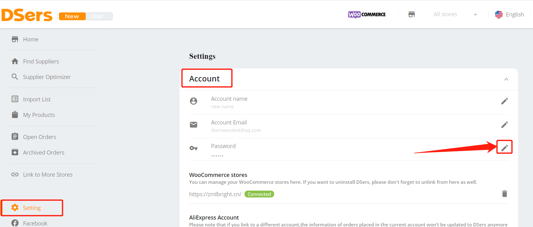 Change password with Woo DSers - Reset password in Setting - Woo DSers
