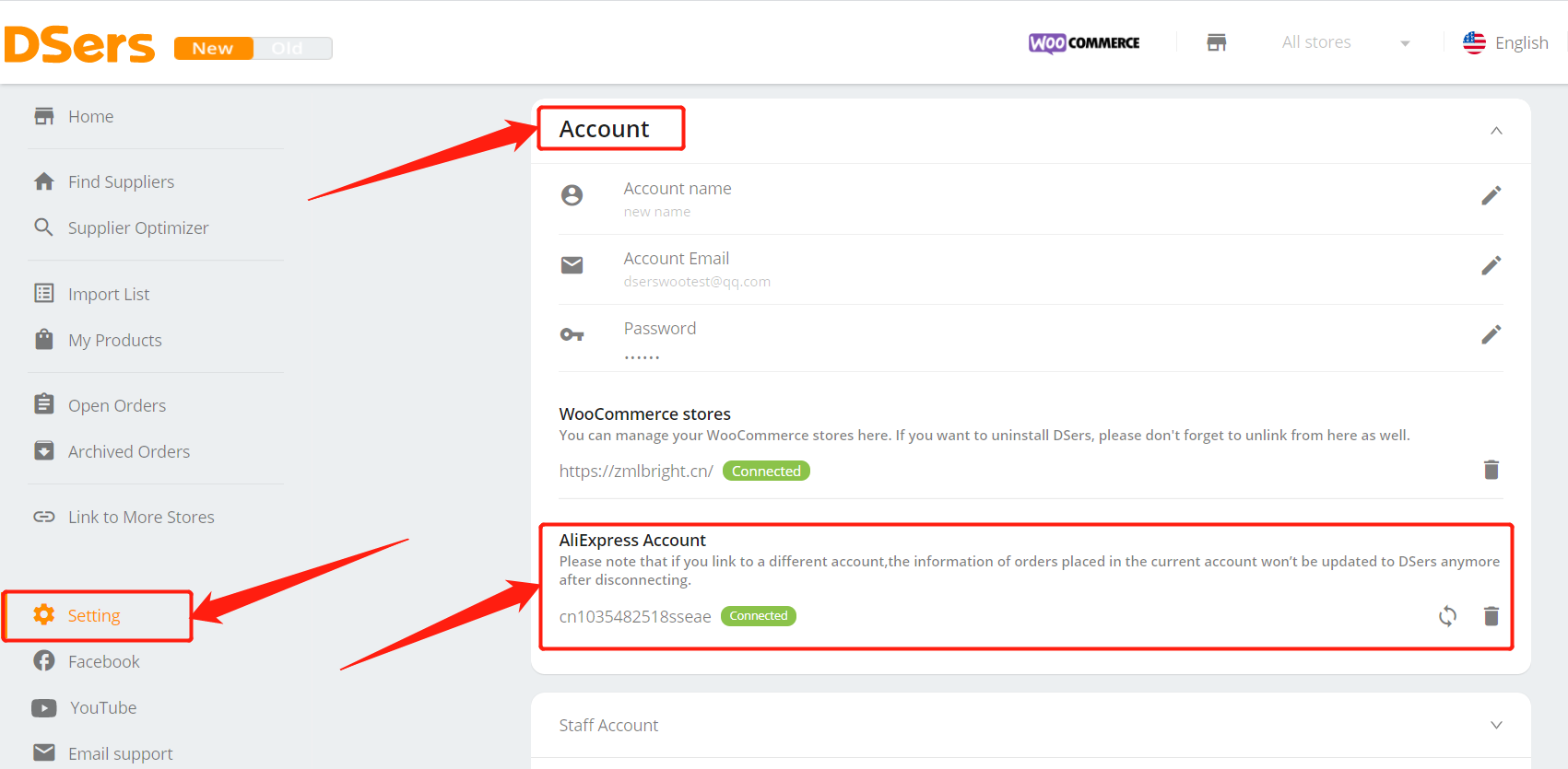 Disconnect AliExpress account with Woo DSers - Access AliExpress account setting - Woo DSers
