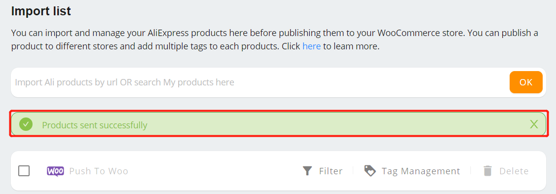 Import List with Woo DSers - Product Pushed - Woo DSers