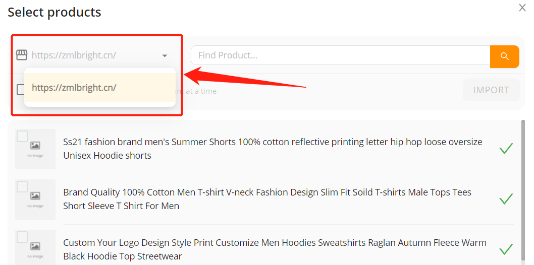 Import products from your WooCommerce store with Woo DSers - Select store - Woo DSers
