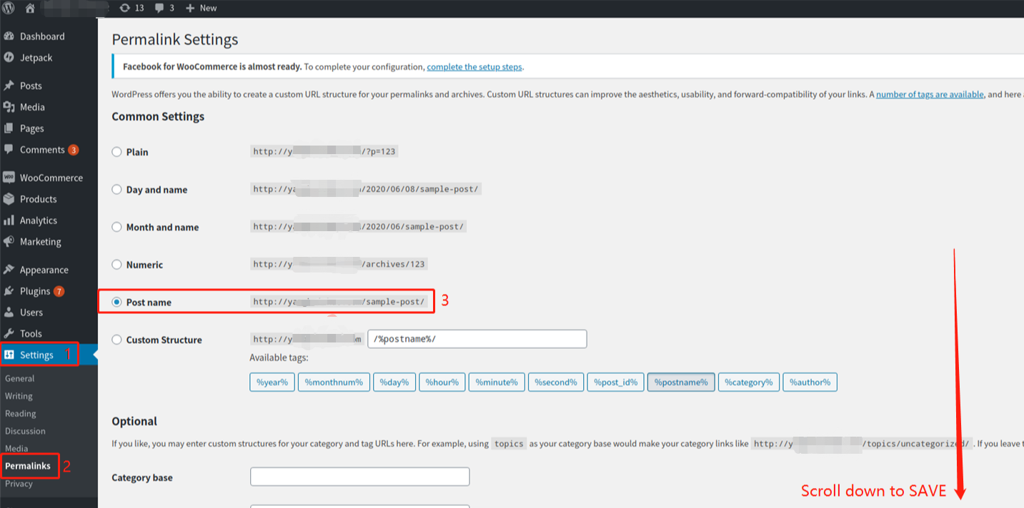 Link your WooCommerce store with Woo DSers - Permalinks Setting on WordPress - Woo DSers