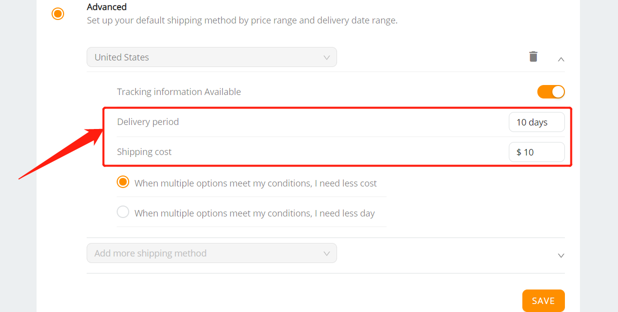 Set shipping method for all products with Woo DSers - Delivery period and shipping cost - Woo DSers
