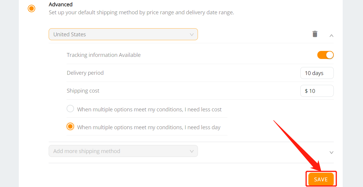 Set shipping method for all products with Woo DSers - Save advanced shipping method - Woo DSers