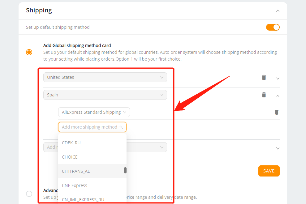 Set shipping method for all products with Woo DSers - Different shipping methods for multiple countries - Woo DSers