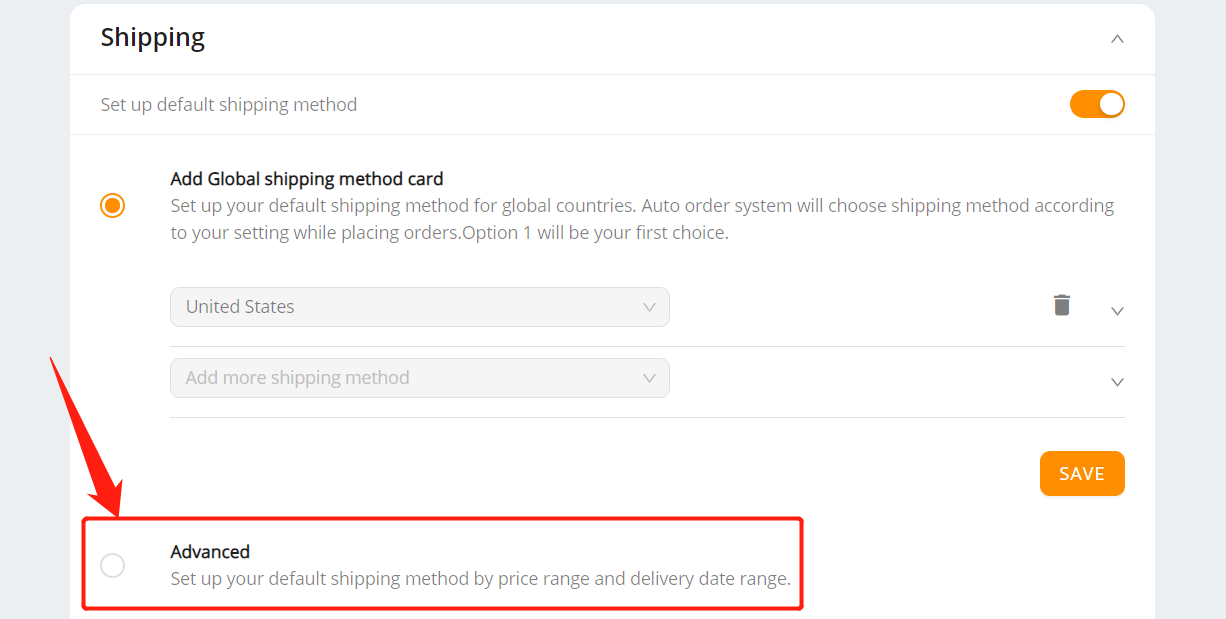 Set shipping method for all products with Woo DSers - Turn on advanced shipping method - Woo DSers