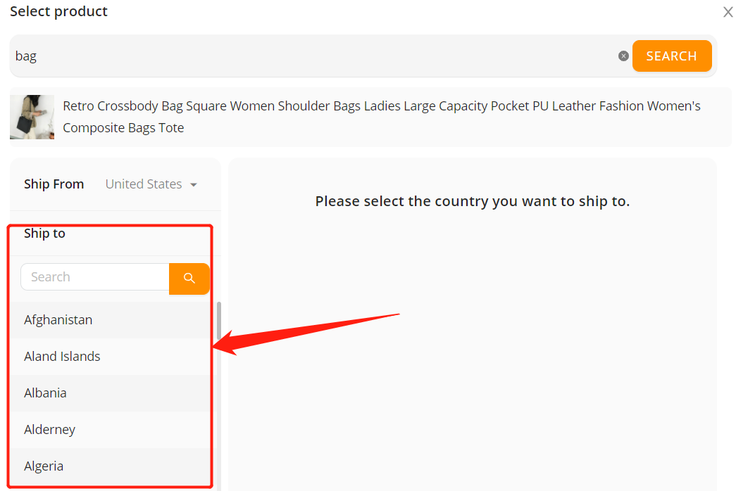 Set shipping method for specific product with Woo DSers - Select country of destination - Woo DSers
