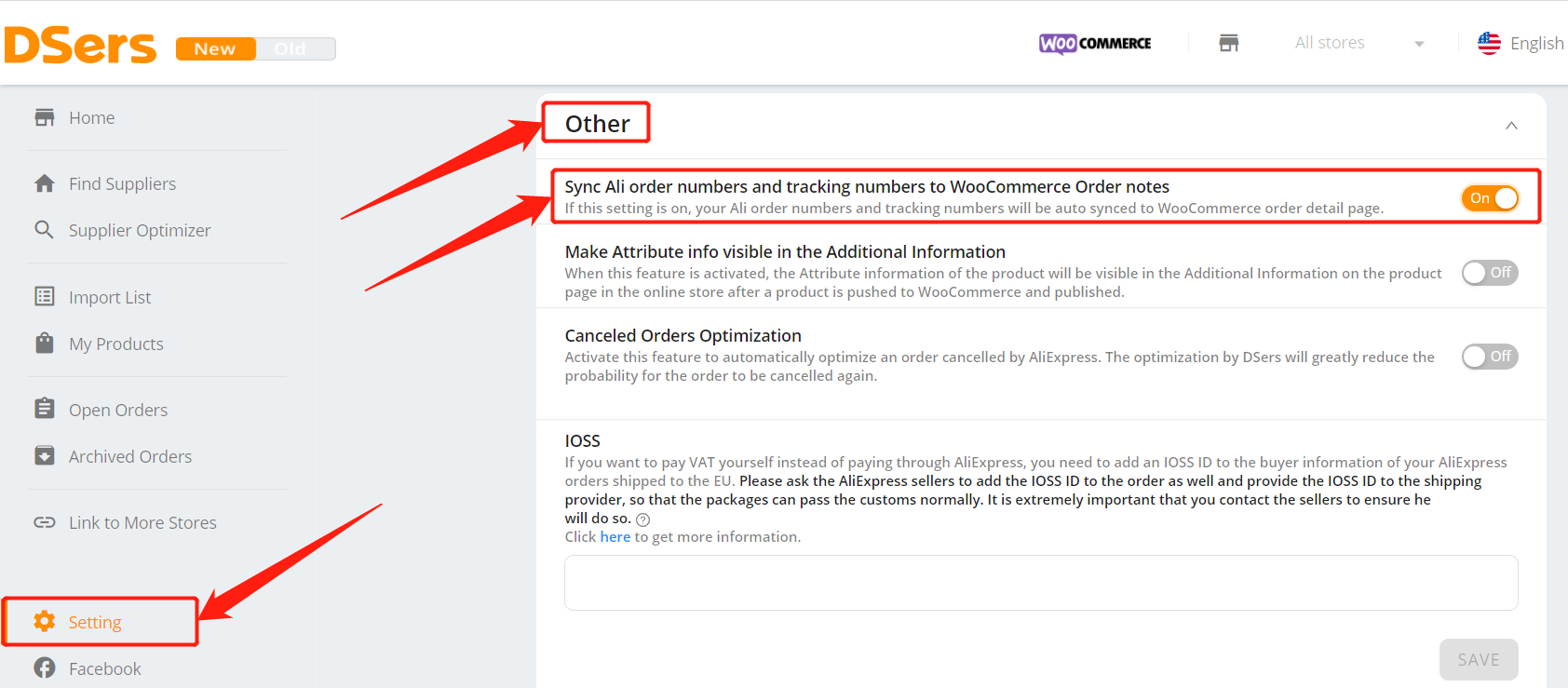 Set tracking for your orders with Woo DSers - activate in DSers - Woo DSers