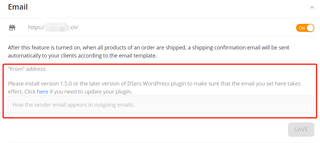 Set tracking for your orders with Woo DSers - from address - Woo DSers