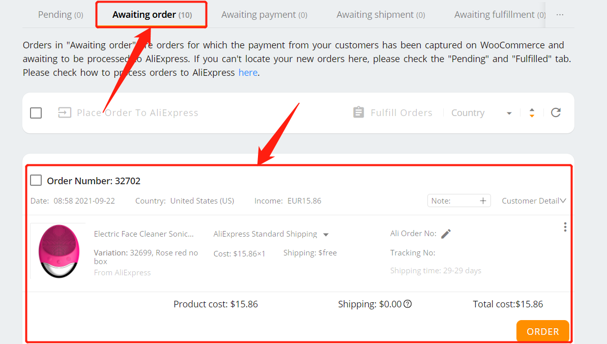 Specific message to an AliExpress supplier with Woo DSers - Awaiting order - Woo DSers