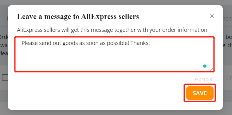 Specific message to an AliExpress supplier with Woo DSers - Write the message - Woo DSers