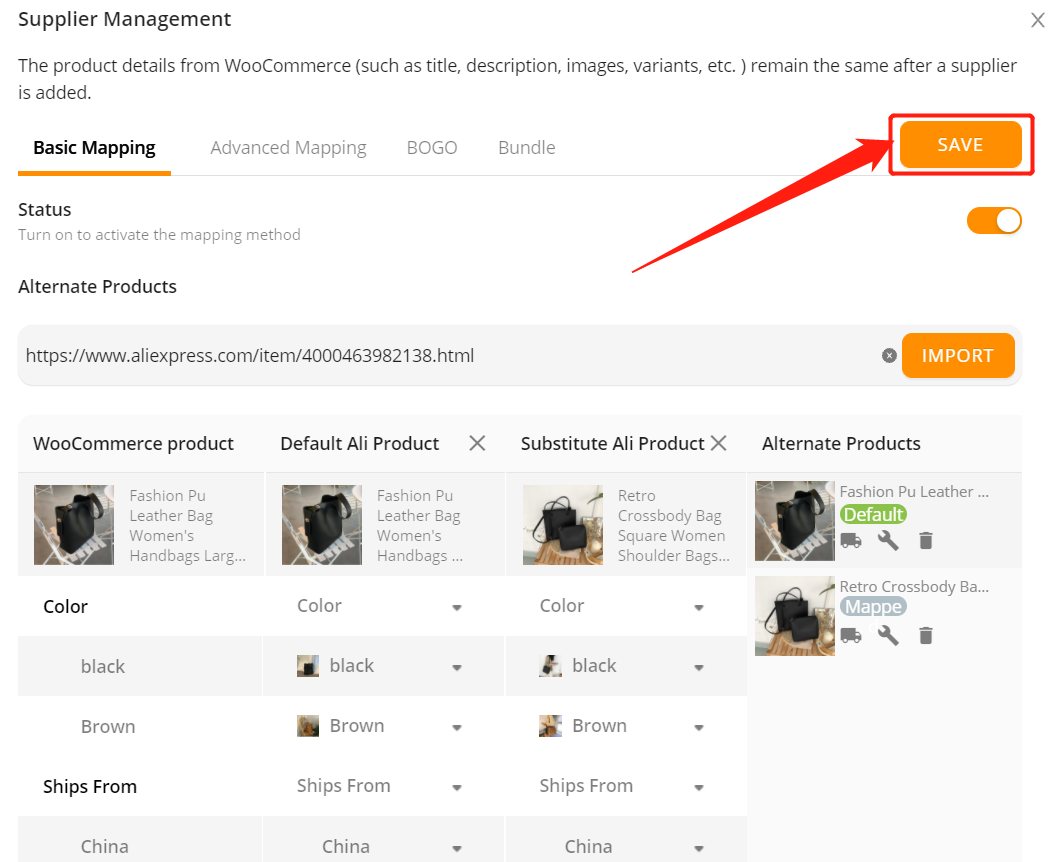 Add a substitute supplier to a WooCommerce product with Woo DSers - Save - Woo DSers