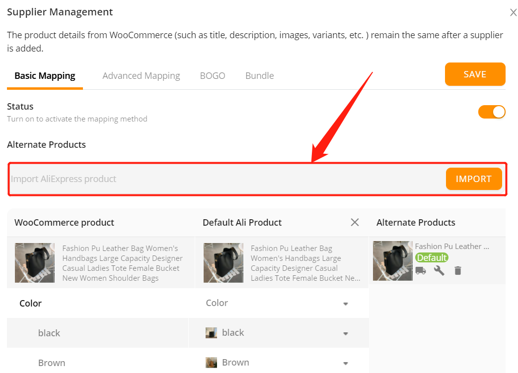Add a substitute supplier to a WooCommerce product with Woo DSers - Import URL - Woo DSers