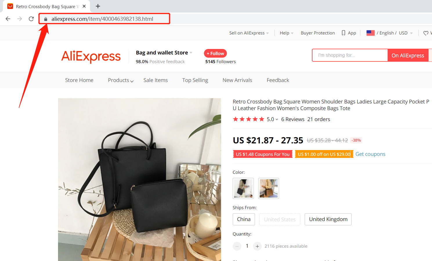 Add a substitute supplier to a WooCommerce product with Woo DSers - Copy AliExpress URL - Woo DSers