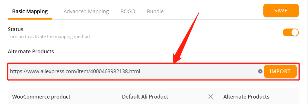 Add a substitute supplier to a WooCommerce product with Woo DSers - Paste URL - Woo DSers