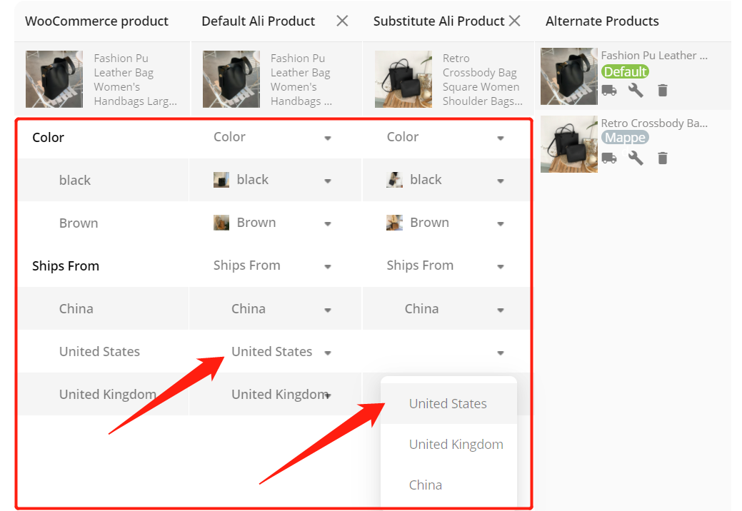 Add a substitute supplier to a WooCommerce product with Woo DSers - Map Variations - Woo DSers