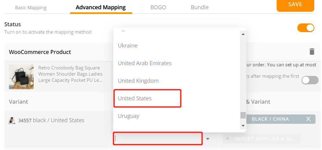 Advanced Mapping with Woo DSers - Select Spain - Woo DSers