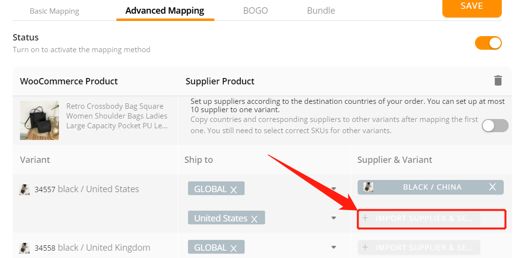 Advanced Mapping with Woo DSers - Click Import Supplier & Select variant - Woo DSers