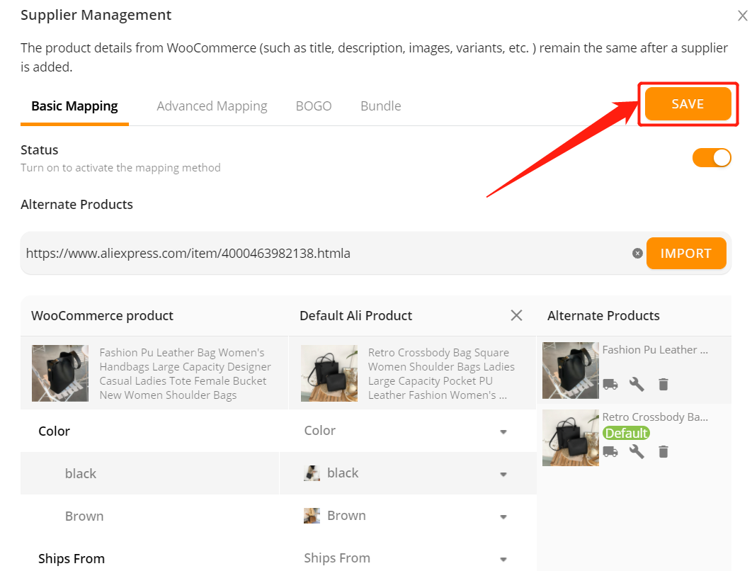 Change supplier of a WooCommerce product with Woo DSers - Save Mapping - Woo DSers