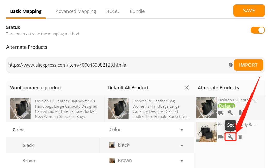 Change supplier of a WooCommerce product with Woo DSers - Click Set - Woo DSers