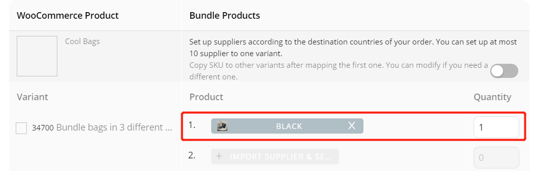 Create Bundles of products with Woo DSers - Mapping of Black product - Woo DSers