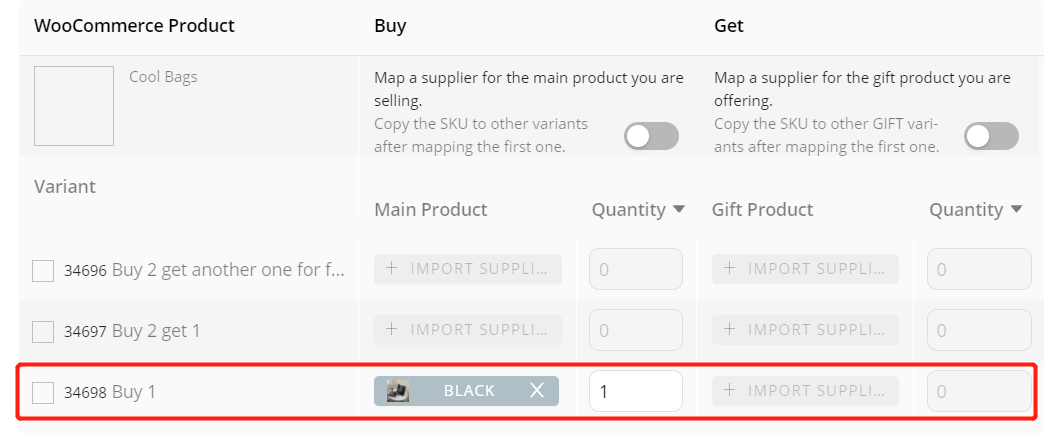Create Buy One Get One offers with Woo DSers - Mapping of Buy 1 - Woo DSers