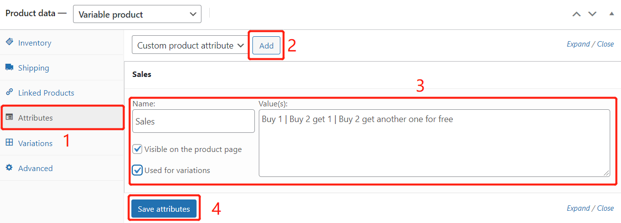 Create Buy One Get One offers with Woo DSers - Create attributes - Woo DSers
