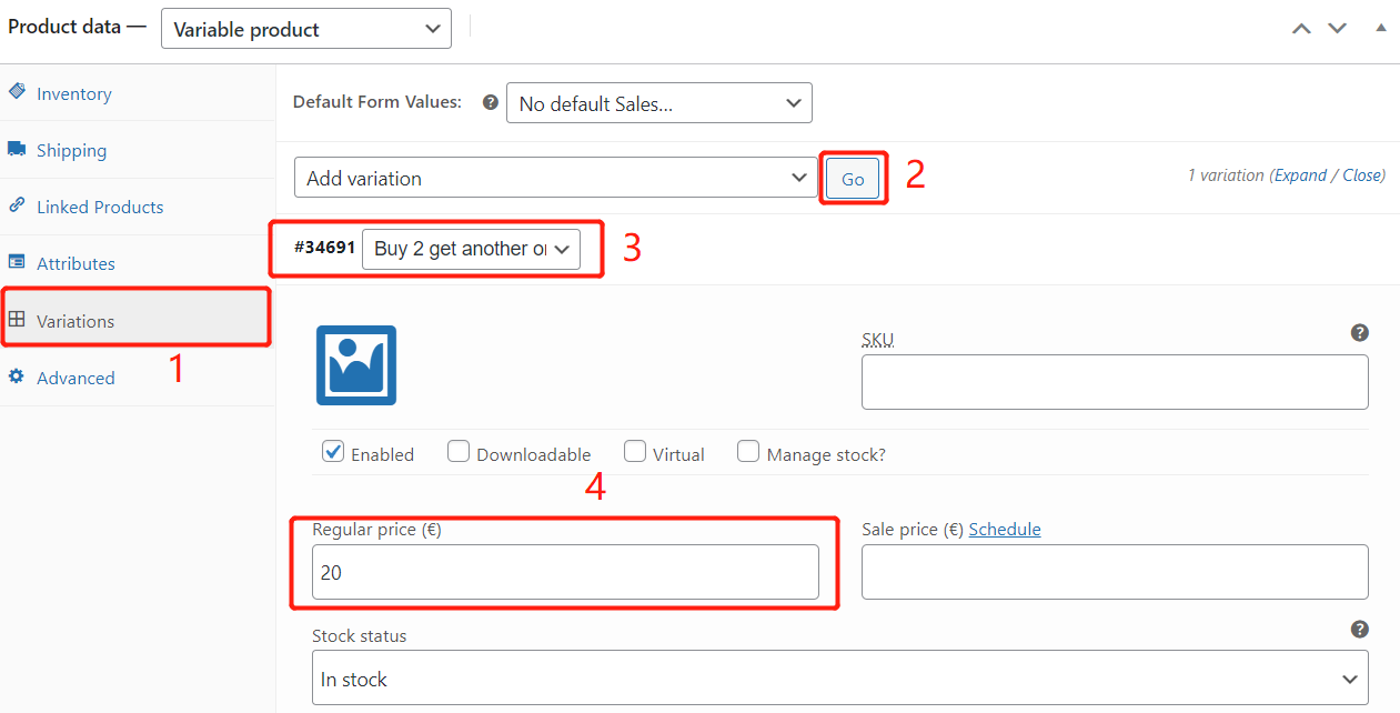 Create Buy One Get One offers with Woo DSers - Edit variation - Woo DSers