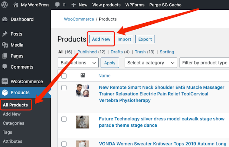 Create a product on WooCommerce with Woo DSers - Add New - Woo DSers