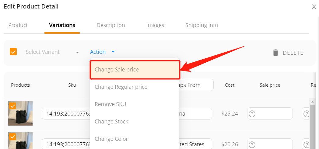 Edit a product on Woo DSers - Change sale price - Woo DSers