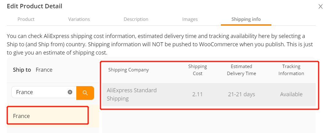 Edit a product on Woo DSers - Shipping methods available - Woo DSers