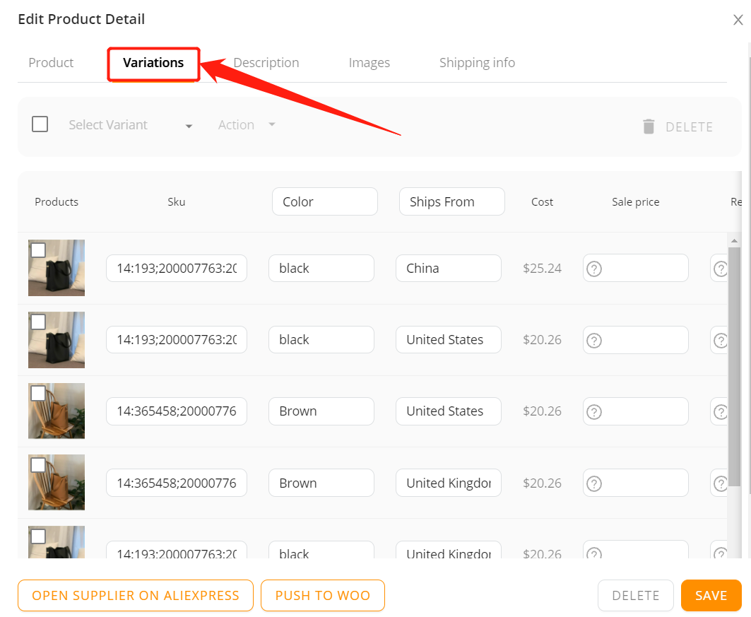 Edit a product on Woo DSers - Variations tab - Woo DSers
