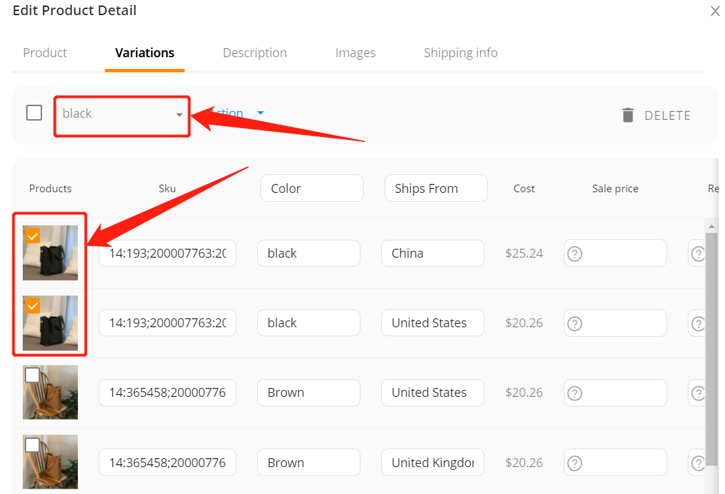 Edit a product on Woo DSers - Select product variation type - Woo DSers