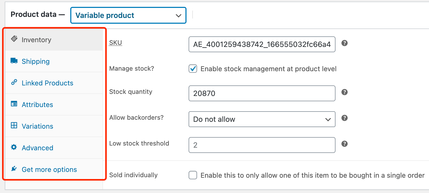 Edit a product on WooCommerce with Woo DSers - Product data menu - Woo DSers