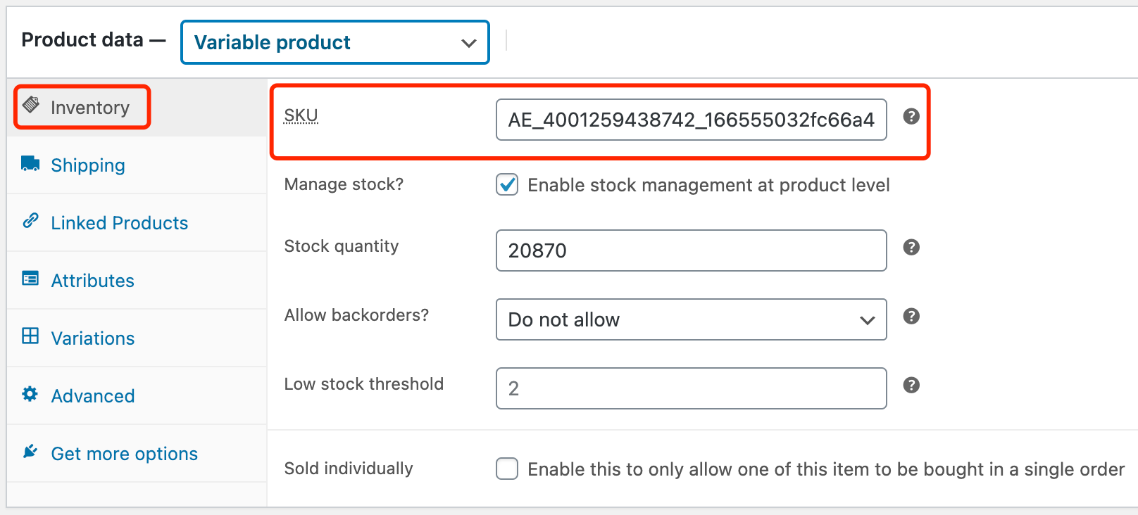 Edit a product on WooCommerce with Woo DSers - Inventory SKU - Woo DSers