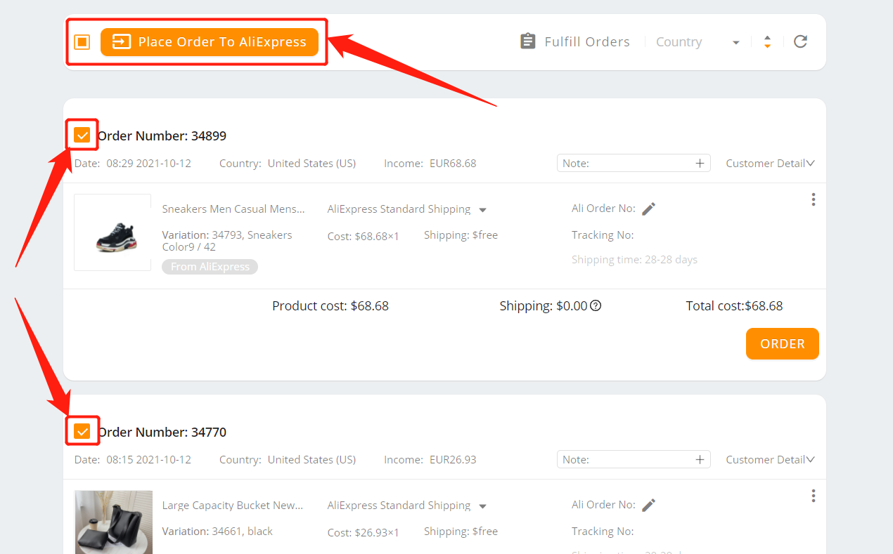Fulfill multiple orders from start to finish with Woo DSers - Select all orders - Woo DSers
