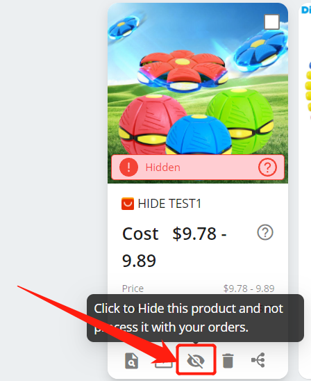 Hide a product with Woo DSers - Unhide a product - Woo DSers
