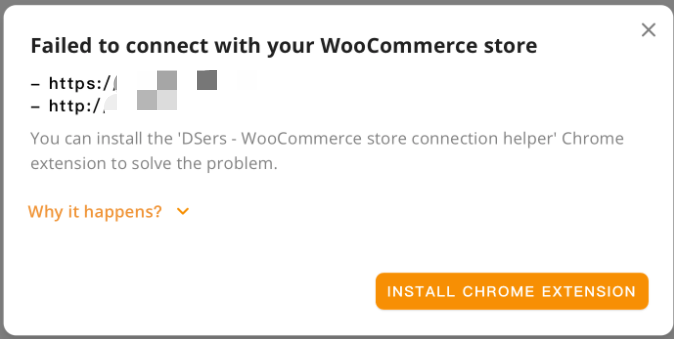 Why Woo DSers failed to connect to your WooCommerce store - Error Message - Woo DSers